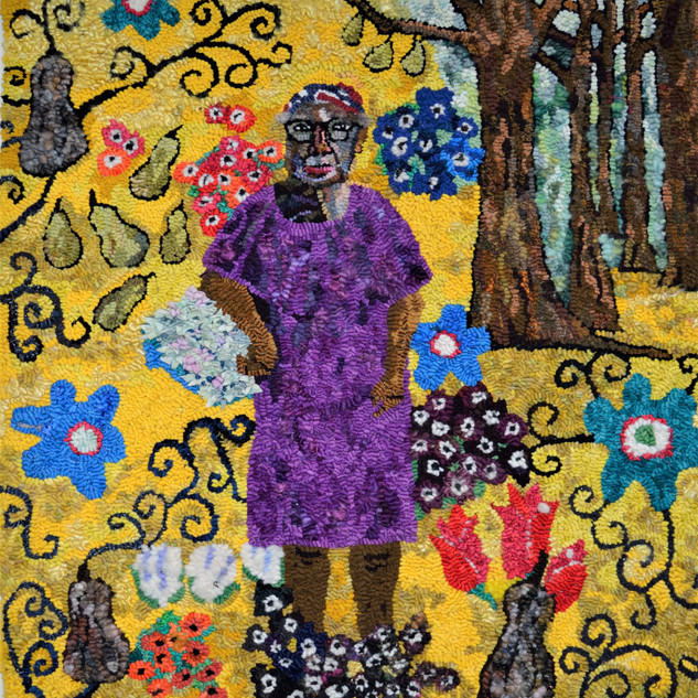 "Mary Tooley Parker ""Sue Willie Seltzer, Gee's Bend Quilter in Klimt,"" 2017 Hooked rug. Variations of new and recycled wool, cotton, and silk fabric, fleece, hand-spun yarn, silk fiber 37 x 36 inches."