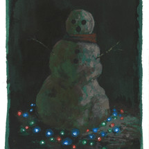 Dark Snowman, 2020 Acrylic and ink on paper 9 x 6 inches