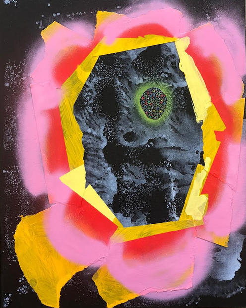 Flower's Ghost, 2018 Acrylic, spray paint, on canvas 20 x 16 inches