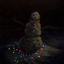 Very Dark Snowman 2020 Oil on panel 14 x 11 inches