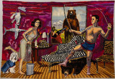 Shari Urquhart Dresser of Disdain, 1990 Wool, mohair, metallic fiber, acrylic yarn & silk fibers 83 x 126 inches