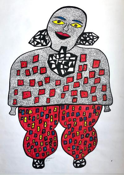 Rosemary Ollison Untitled (Red Pants) Hot Moma Series 2017  ink and glitter on paper 24 x 18 inches