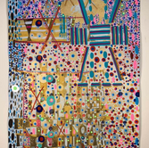 John Hitchcock We Can Be What is Not Yet, unique sceenprint, gold dust flocking and acrylic paint on Rives BFK 22 x 15 inches