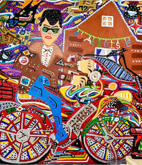Romano Johnson Tom Cruise Racing Jet, 2020 Glitter and acrylic paint on canvas 56 x 48 inches
