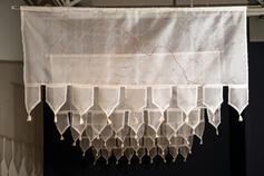 Nirmal Raja Fault Lines: North Korea / South Korea India / Pakistan Syria / Turkey Gaza Strip Mexico / USA 2019 Embroidery on silk organza 21 x 48 inches each
