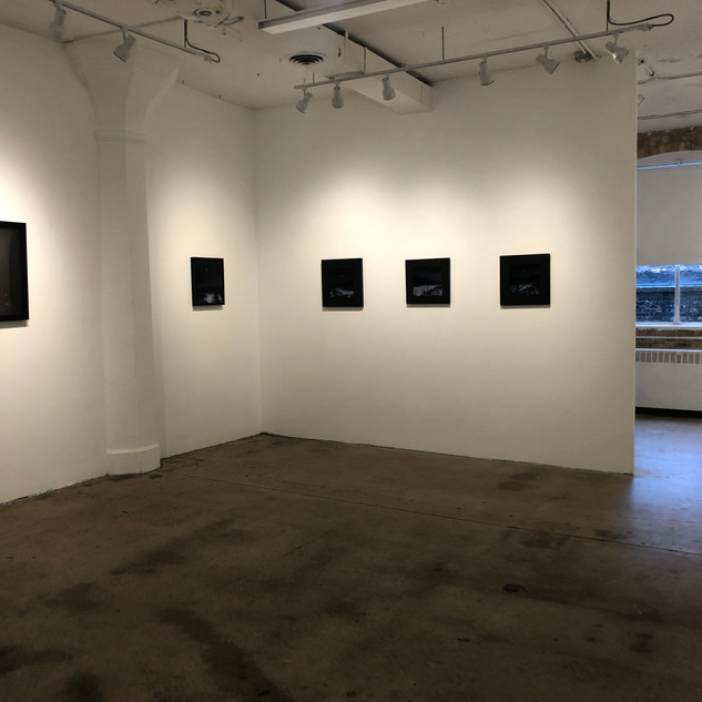 Installation view with Lauren Semivan (left) and David Niec (paintings)