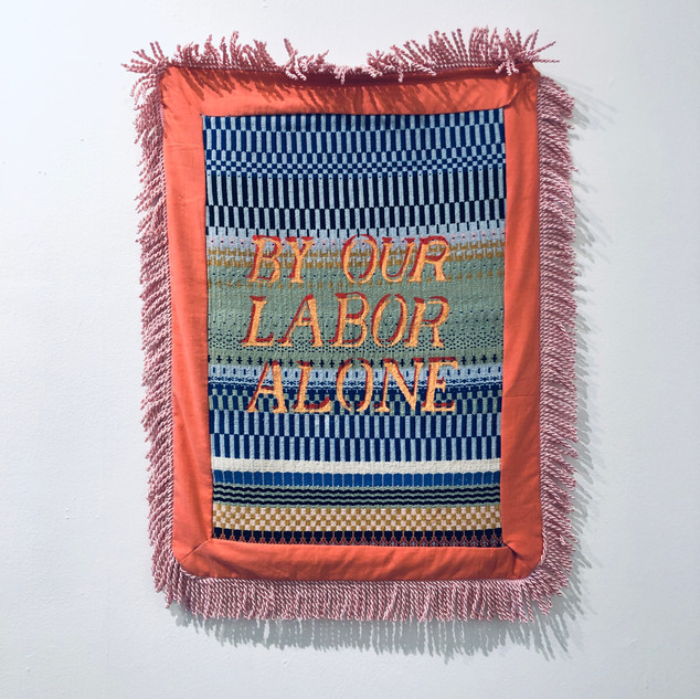 Molly Hassler By Our Labor Alone, 2020 Bound weave, dyed cotton, fringe  27 x 21 inches
