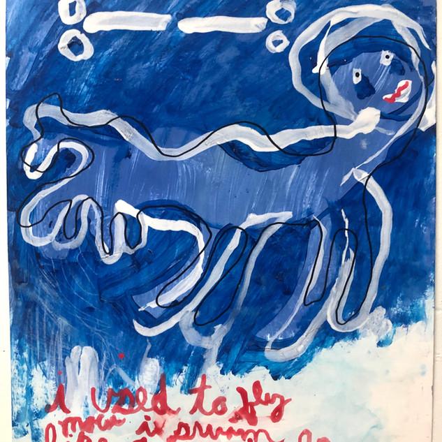 Skully Gustafson Swiggler, 2020.  Acrylic on bristol, 17 x 14 in. $400