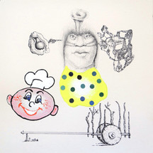 Mark Ottens Untitled (Chef), 2020 Ink and acrylic on paper 7.5 x 7.5 inches $250 (unframed)
