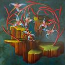Thomas Haneman, Untitled (Flower islands), 2020. Acrylic on linen, 30 x 30 inches.