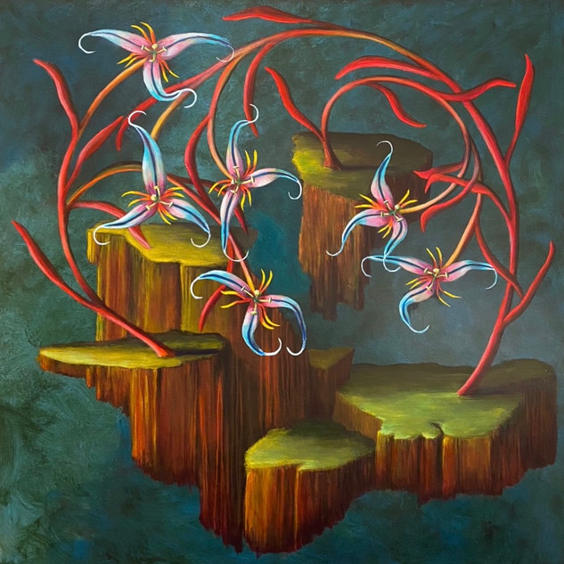 Thomas Haneman, Untitled (Flower islands), 2020. Acrylic on linen, 30 x 30 inches.
