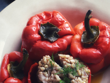 Turkish Vegetarian Dolmas with  Bell Peppers