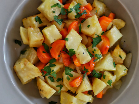 Celery Root with Carrots in Orange Juice and Olive Oil Recipe