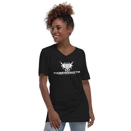 """FUKBEINGAVICTIM"" Unisex Short Sleeve V-Neck T-Shirt"