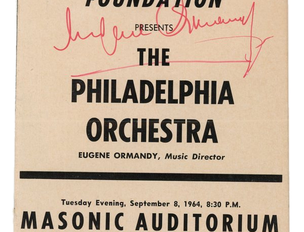 Philadelpha Orchestra program from San Francisco SIGNED by Eugene Ormandy