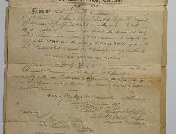 California Infantry Volunteers Discharge Document