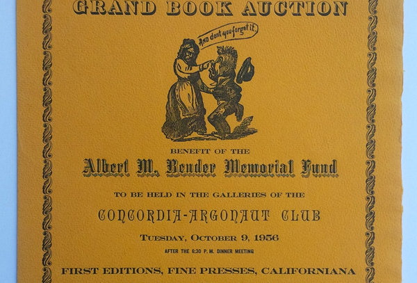 Roxburghe Club flyer for Grand Book Auction for Albert M. Bender Memorial Fund