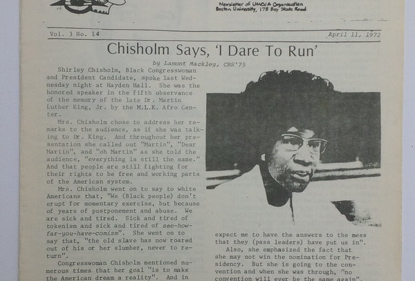 Shirley Chisholm for President - Newsletter - 1972 Presidential Election