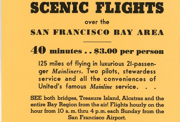 United Air Lines flyer promoting Flights over San Francisco at PPIE exposition