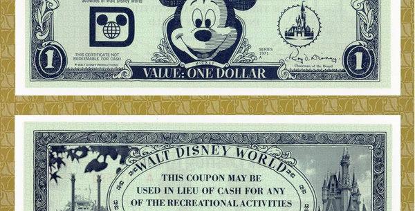 First issue of the first Disney Currency - WDW Recreation Coupon Series 1971 A