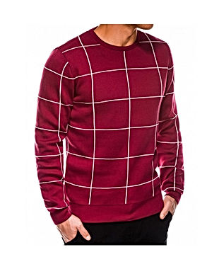 Vyriškas languotas raud spal megztinis K