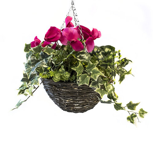 Artificial Cyclamen Hanging Basket