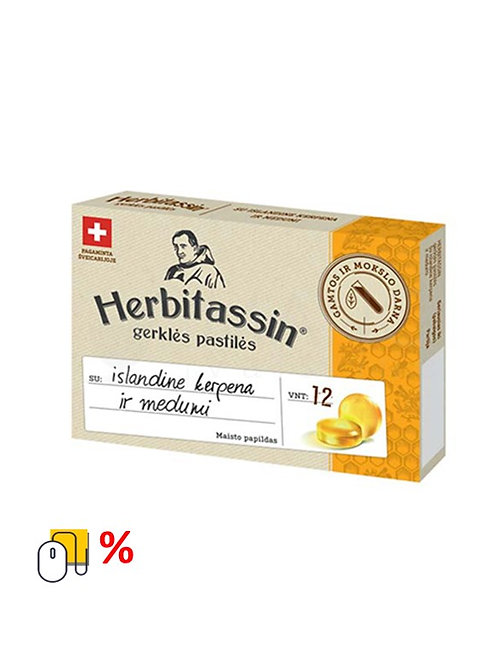 Gerklės pastilės HERBITASSIN su šalavijų ekstraktu 12 vnt