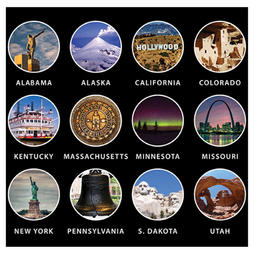 US Map with 50 Landmarks