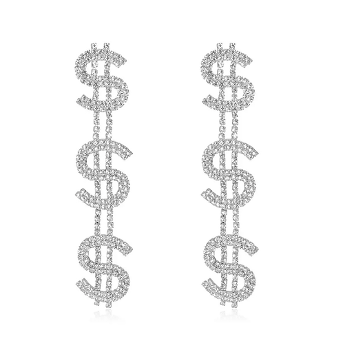 """Dollar $ign"" Bling Drop Earrings"