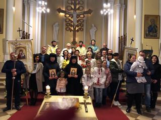 Греко-католицька громада міста Москви зустрічала мощі преподобномучениць Олімпії та Лаврентіі