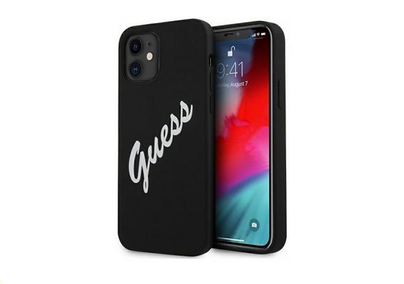 Чехол Guess Liquid Silicone Script Laser logo для iPhone 12 mini, черный/белый