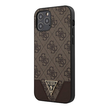 Чехол Guess 4G Triangle Metal logo Hard для iPhone 12 Pro Max, коричневый