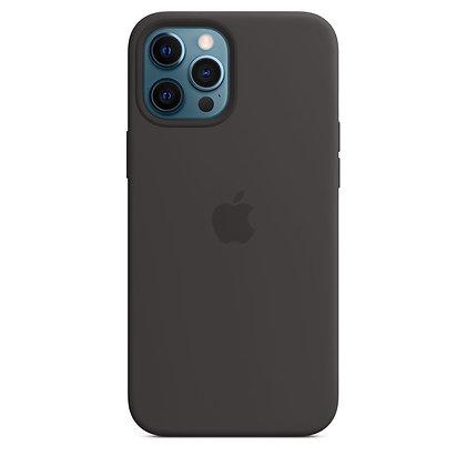 Силиконовый чехол MagSafe для iPhone 12 Pro Max, чёрный цвет