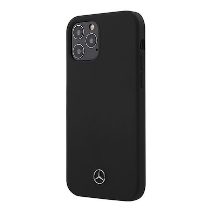 Чехол Mercedes Liquid Silicone Hard для iPhone 12 Pro Max, черный