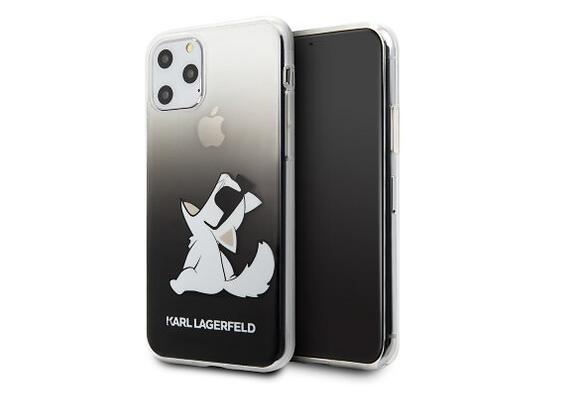 Чехол Karl Lagerfeld Fun Choupette Sunglasses Gradient для iPhone 11 Pro, черный