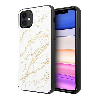 Чехол Guess Double Layer Marble Tempered glass для iPhone 11, белый