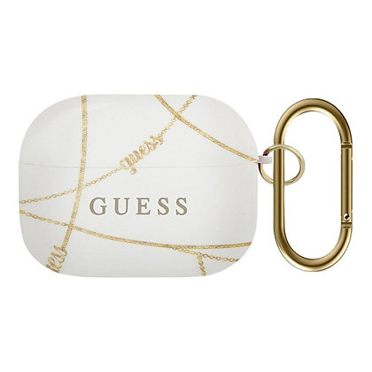 Чехол Guess Chain с кольцом для Airpods Pro, белый