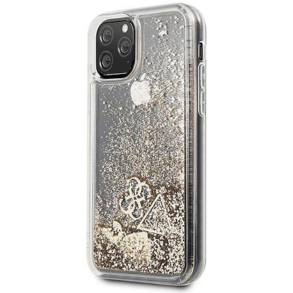 Чехол Guess Liquid Glitter Hearts Hard для iPhone 11 Pro Max Gold