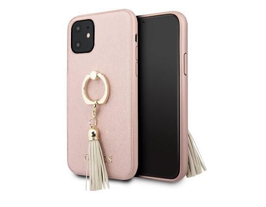 Чехол Guess для iPhone 11 – Saffiano Hard с кольцом, розовый