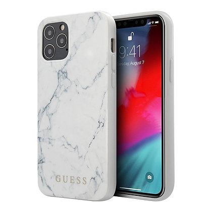 Чехол Guess Marble Design Hard для iPhone 12 / 12 Pro, белый