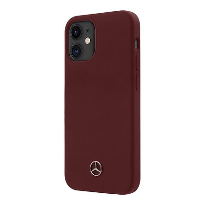 Чехол Mercedes Liquid Silicone Hard для iPhone 12 mini, красный