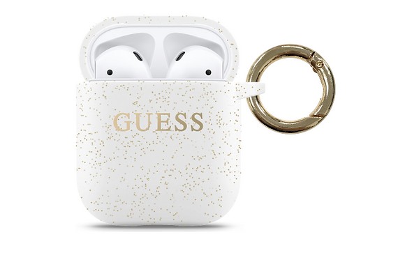 Чехол Guess Silicone case with ring для AirPods (1-2), белый