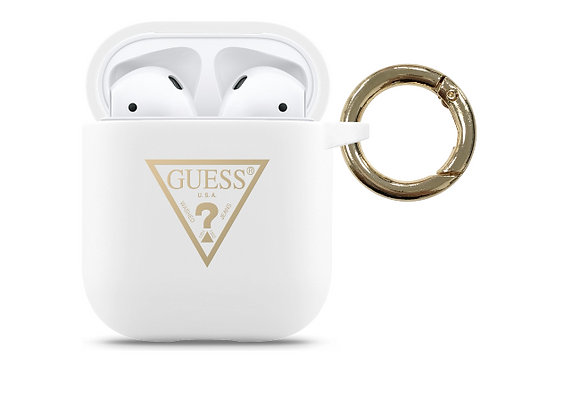 Чехол Guess Silicone case Triangle logo with ring для AirPods (1-2), белый