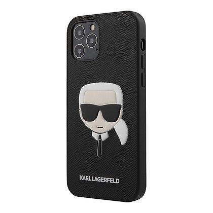 Чехол Karl Lagerfeld PU Saffiano Karl's Head Hard для iPhone 12 Pro Max, черный