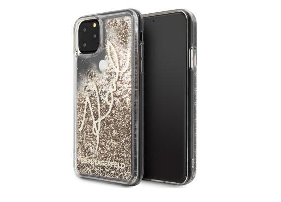 Чехол Karl Lagerfeld Liquid Glitter Signature для iPhone 11 Pro, золотой