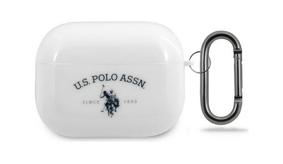 Чехол U.S. Polo Assn. Double Horse Logo с кольцом для AirPods Pro, белый