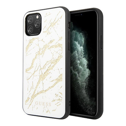 Чехол Guess Double Layer Marble Tempered glass для iPhone 11 Pro Max, белый