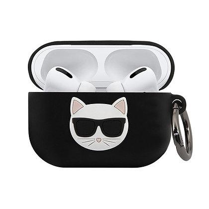 Чехол Karl Lagerfeld Choupette Silicone с кольцом для Airpods Pro, черный
