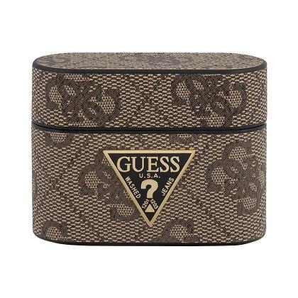 Чехол Guess 4G PU leather case with metal logo для Airpods Pro, коричневый