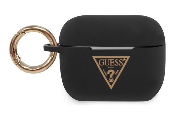 Чехол с карабином Guess Silicone case Triangle logo with ring для AirPro, черный